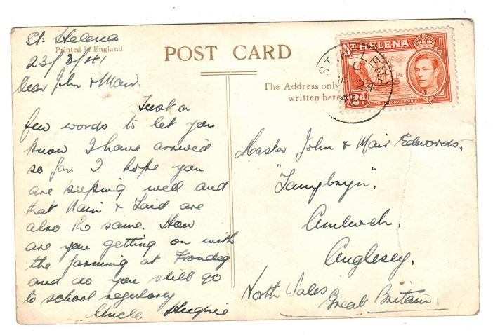 ST.HELENA - 1941 postcard to UK with 2d tied ST.HELENA.