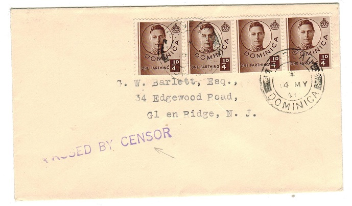 DOMINICA - 1941 PASSED BY CENSOR cover to USA.