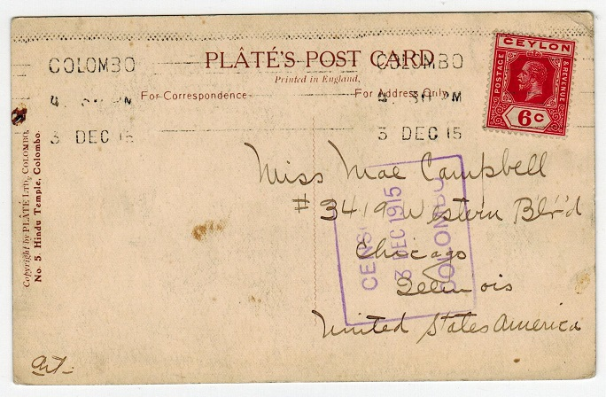 CEYLON - 1915 censored postcard to USA used at COLOMBO.