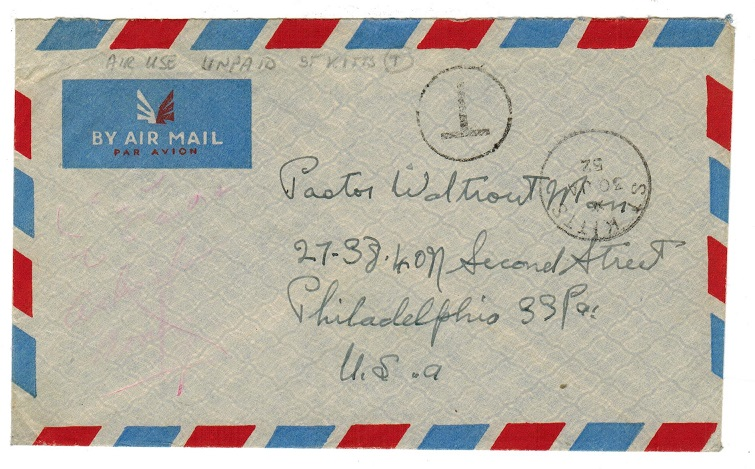 ST.KITTS - 1952 stampless cover to USA with