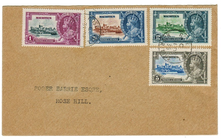 MAURITIUS - 1935 Silver Jubilee set on local cover from ROSE HILL.