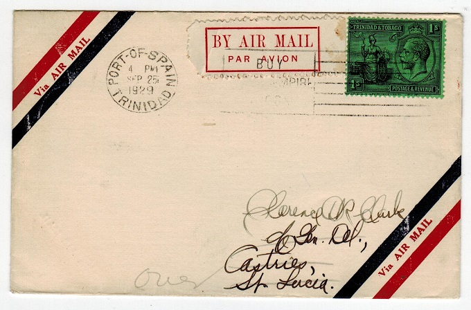 ST.LUCIA - 1929 inward first flight cover from Trinidad.