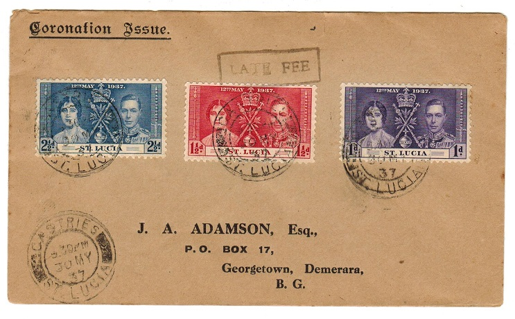 ST.LUCIA - 1937 cover to British Guiana with LATE FEE handstamp.