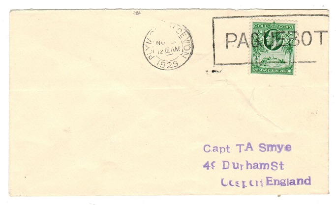 GOLD COAST - 1929 maritime cover to UK with 1/2d tied PAQUEBOT.