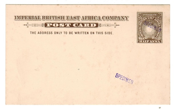 BRITISH EAST AFRICA - 1893 1/2a brown PSC unused with SPECIMEN h/s.  H&G 1.