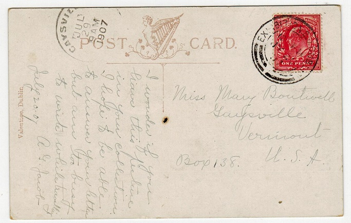 IRELAND - 1907 postcard to USA cancelled EXHIBITION B.O./DUBLIN.