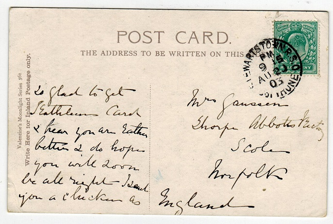 IRELAND - 1903 postcard to UK used at STEWARTSTOWN R.S.O. Co.TRUNE.