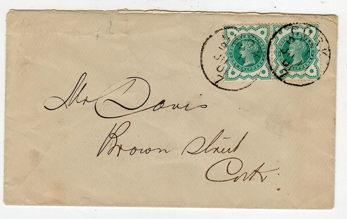 IRELAND - 1901 local cover bearing GB 1/2d pair tied CORK/7.