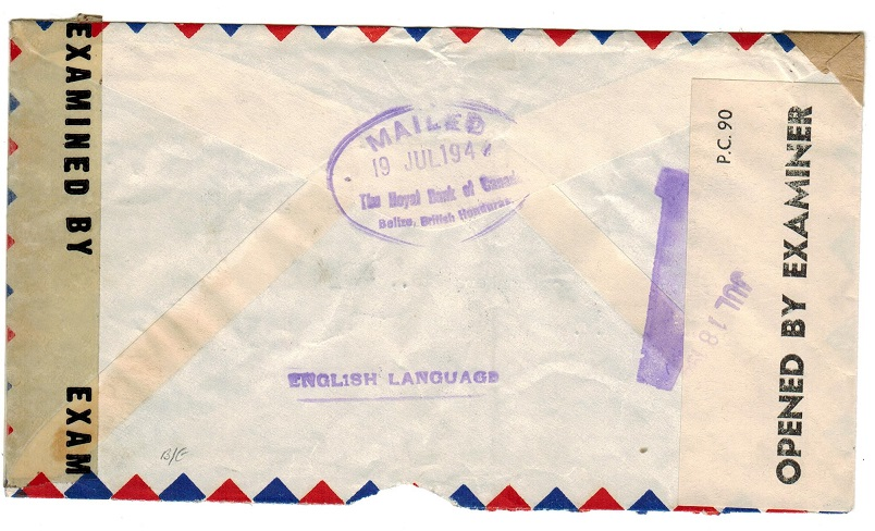 BRITISH HONDURAS - 1944 censor cover to USA with