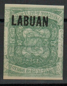 LABUAN - 1896 25c IMPERFORATE PLATE proof PRINTED TWICE, ONE INVERTED. (SG 80).