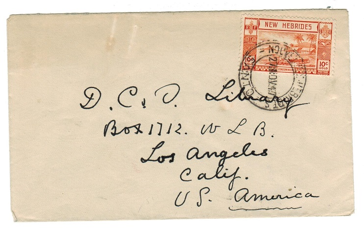 NEW HEBRIDES - 1947 10c cover to USA used at (French) SANTO.