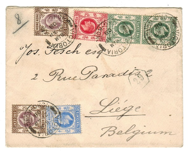 HONG KONG - 1908 colourful multi franked cover to Belgium.