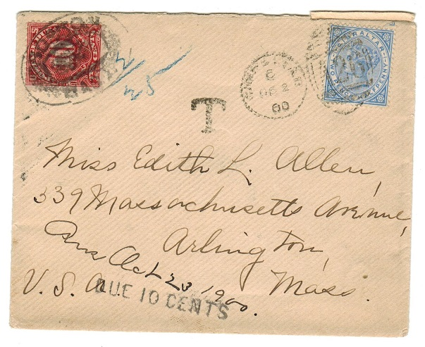 GIBRALTAR - 1900  2 1/2d rate underpaid cover to USA with tax mark and postage due applied.