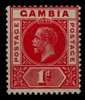 GAMBIA - 1921-22 1d red fine mint with REVERSED WATERMARK.  SG 109x.