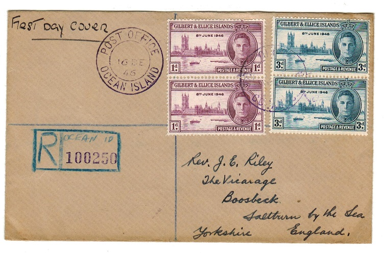GILBERT AND ELLICE IS - 1946 registered victory FDC with OCEAN ISLAND cds in VIOLET ink.