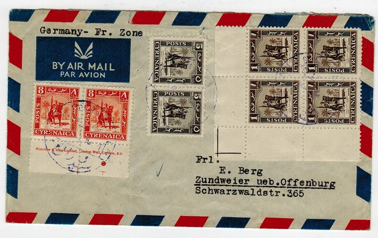 CYRENAICA EMIRATE - 1951 cover to Germany used at SIDI RAFA 2 with cds in