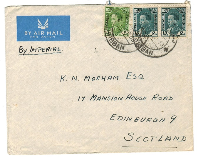 IRAQ - 1938 cover to UK used at DHIBBAN.