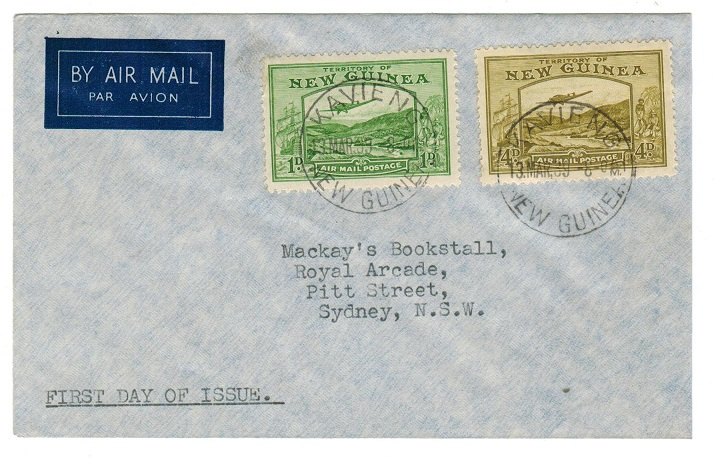 NEW GUINEA - 1939 1d and 4d used on first day cover to Australia.