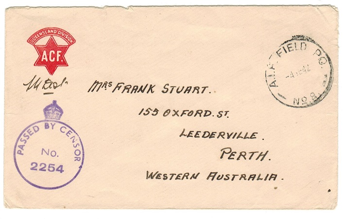 PALESTINE - 1942 A.I.F.FIELD PO.No.8 cover use to Australia.