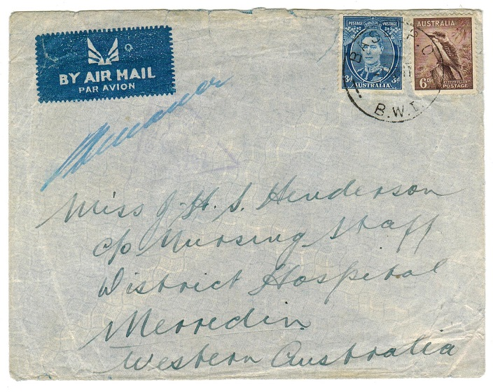 PALESTINE - 1941 BASE PO/BWI cover use to Australia.