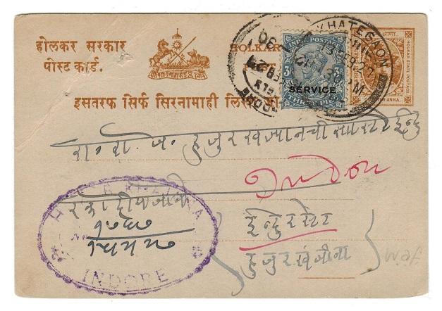 INDIA (INDORE) - 1904 1/4a PSC used in combination with Indian 3ps SERVICE stamp.