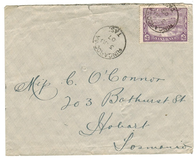 AUSTRALIA (Tasmania) - 1907 local 2d rate cover used at RINGAROOMA.