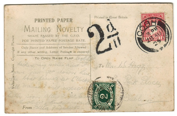 IRELAND - 1925 local underpaid postcard from COBH with 2d postage due added.