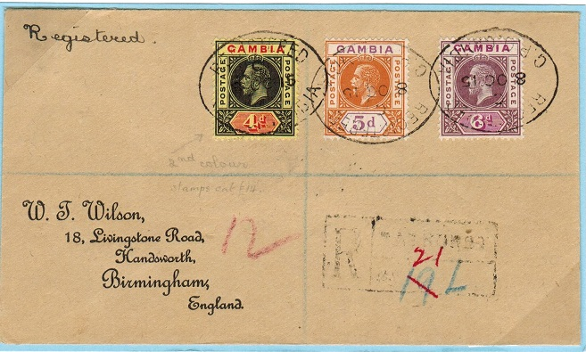 GAMBIA - 1915 4d, 5d and 6d on registered cover to UK.