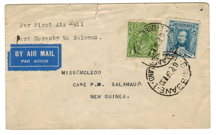 NEW GUINEA - 1933 inward first flight cover from Australia.