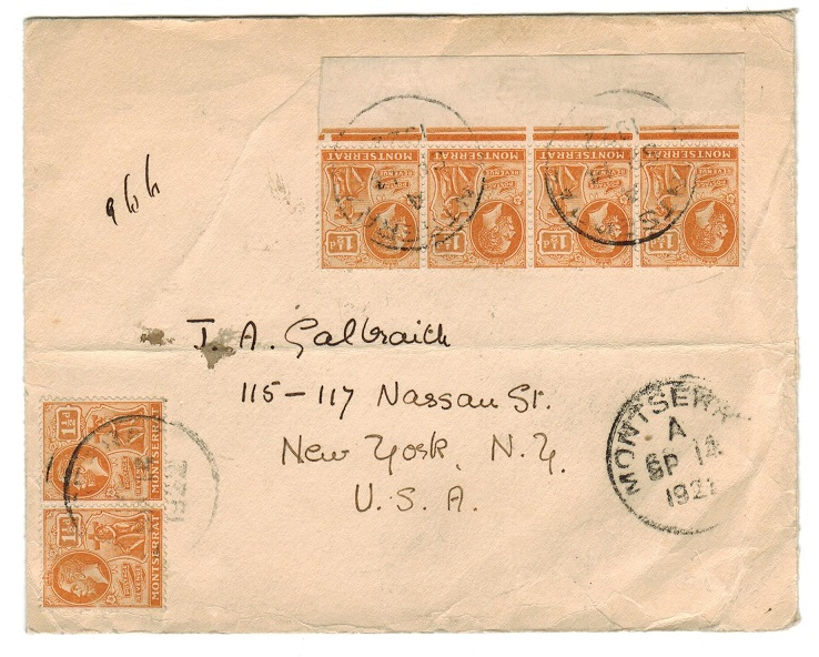MONTSERRAT - 1921 9d rate cover to USA used at MONTSERRAT.