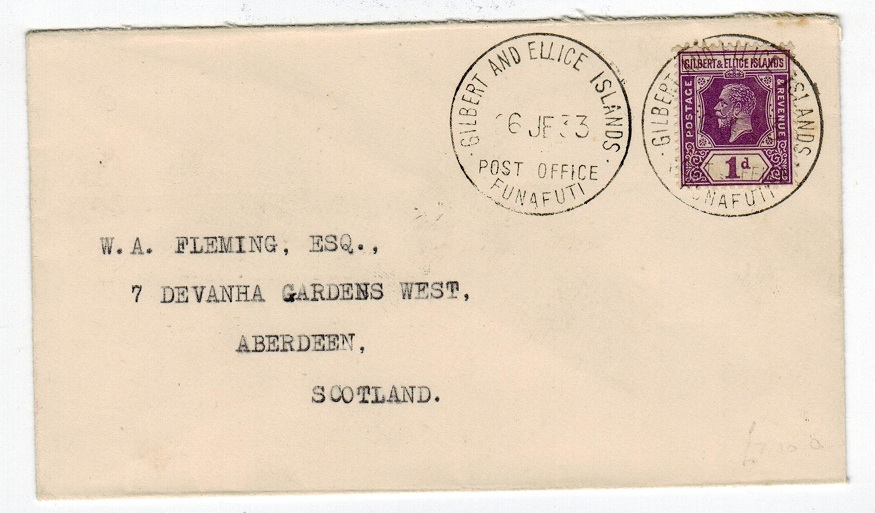 GILBERT AND ELLICE ISLANDS -1933 1d cover from FUNAFUTI.