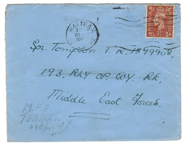 B.O.F.I.C. (Cyrenaica) - 1943 inward redirected cover to TOBRUK via EGYPT/135/POSTAGE PAID cancel.