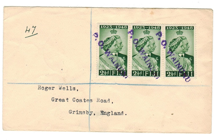 FIJI - 1950 registered cover to UK with Coronation 2 1/2d
