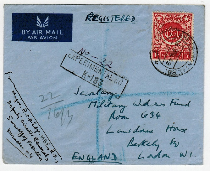PAKISTAN - 1949 registered cover to UK used at EXPERIMENTAL P.O./K-183.