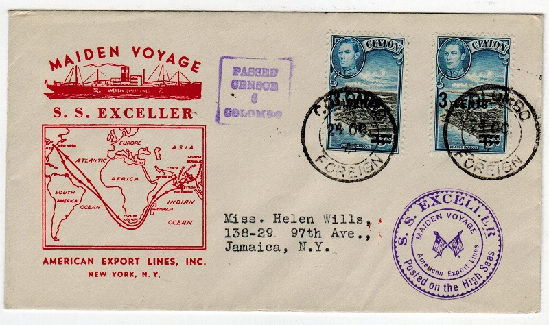 CEYLON - 1941 illustrated S.S.EXCELLER maritime cover to Jamaica with CENSOR 6 h/s.