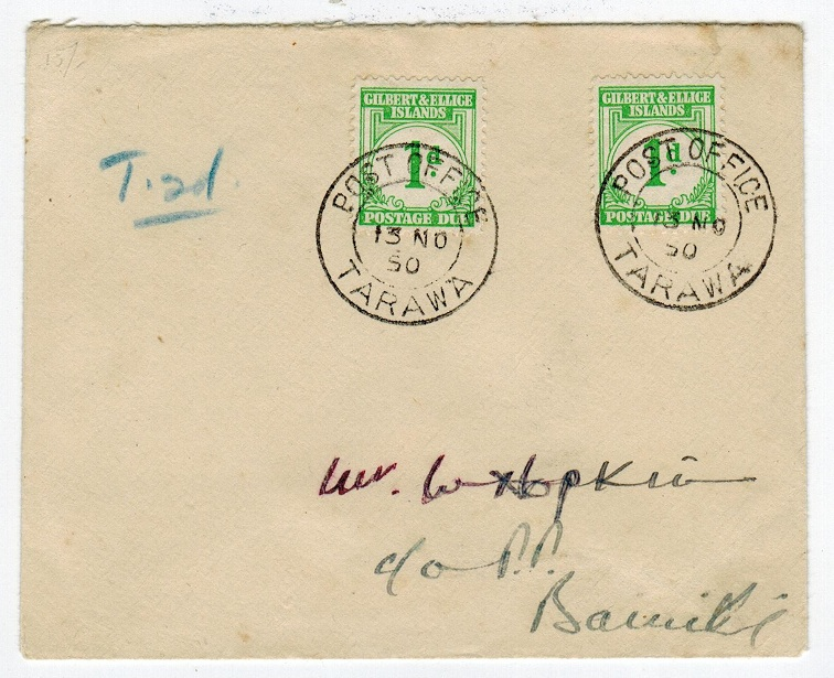 GILBERT AND ELLICE ISLANDS - 1950 POSTAGE DUE cover.