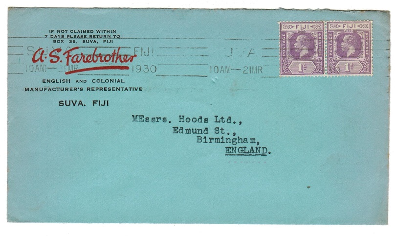 FIJI - 1930 2d rate commercial cover to UK.
