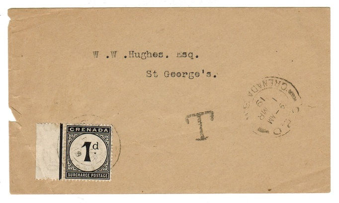 GRENADA - 1919 local unpaid cover with 1d