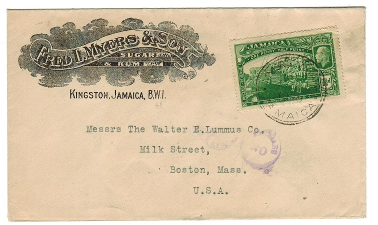 JAMAICA - 1920 Illustrated envelope to USA used at MYERS WHARF.