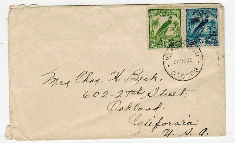 NEW GUINEA - 1932 cover to USA used at BULOLO.
