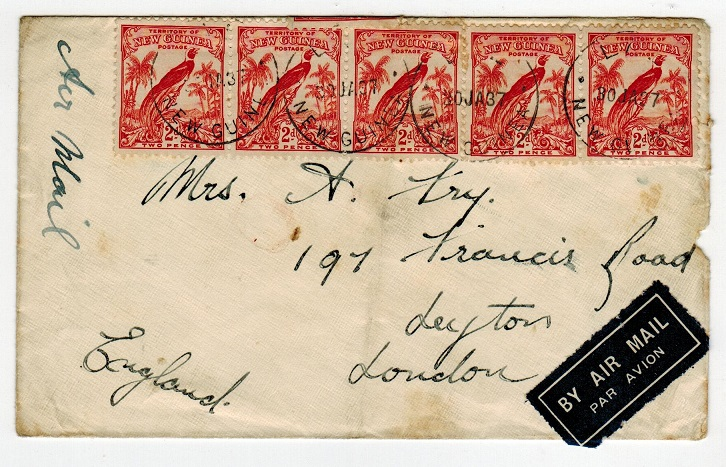 NEW GUINEA - 1937 1/6d rate cover to UK used at LAE.