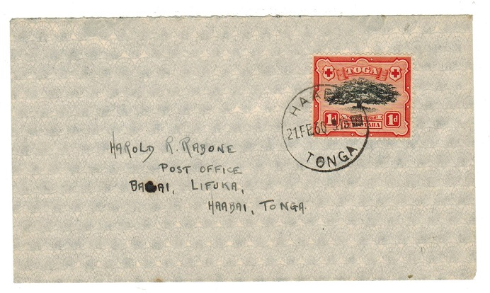 TONGA - 1930 local cover with 1d used at HAAPI.