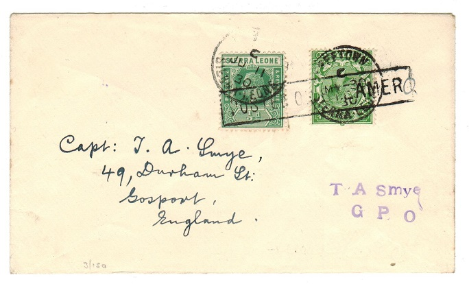 SIERRA LEONE - 1930 POSTED ON STEAMER combination cover to UK.