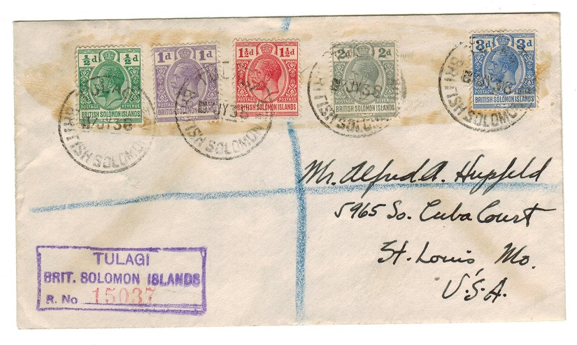 SOLOMON ISLANDS - 1938 multi franked registered cover to USA used at TULAGI.