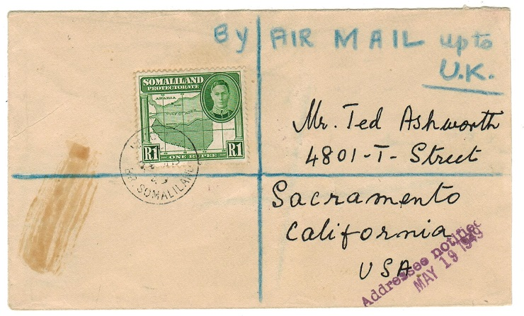 SOMALILAND - 1949 registered cover to USA with 1r used at HARGAISA.