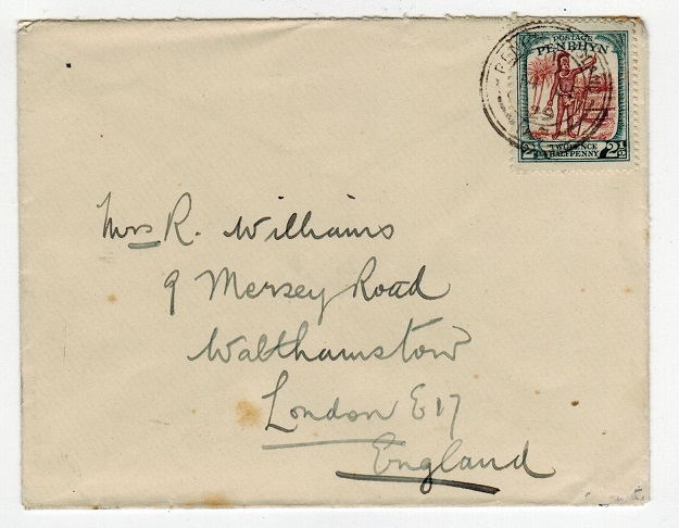 PENRHYN - 1929 2 1/2d rate cover to UK used at PENRHYN.