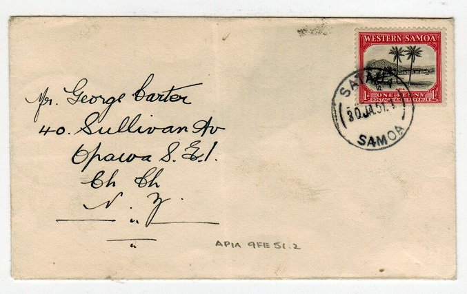 SAMOA - 1951 1d rate cover to New Zealand used at SATAUA.