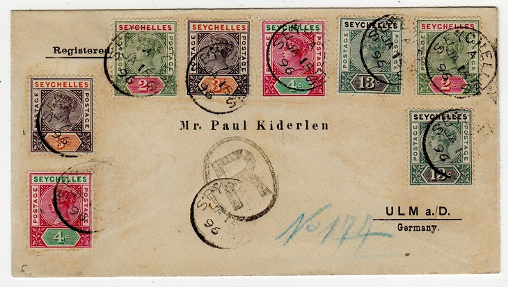 SEYCHELLES - 1898 multi franked registered cover to Germany used at SEYCHELLES.