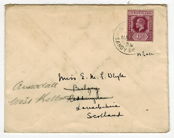 ST.KITTS - 1935 6d rate cover to UK used at SANDY POINT.
