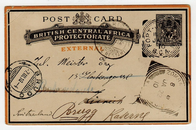 NYASALAND - 1895 2d PSC to Switzerland used at FORT JOHNSTON.  H&G 5.